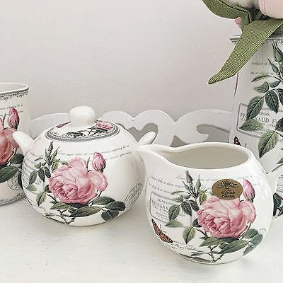 Vintage Floral Fine China Antique Rose Sugar Bowl & Cream Milk Jug Set Teaset