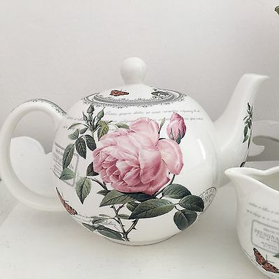Vintage Floral French Antique Rose Fine China Tea Pot Teapot Boxed Wedding Gift