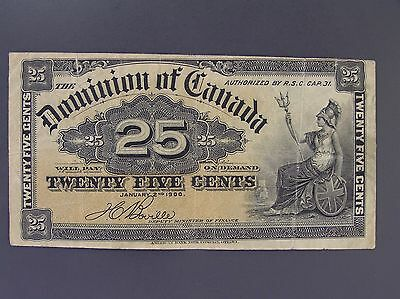 1900 Dominion of Canada 25 Cents Shinplaster Note,Boville, DC-15b