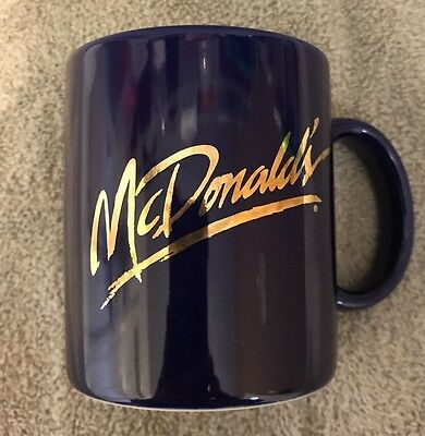 Vintage Mcdonalds  Blue/gold Ceramic Coffee Cup  Rare! Never Used. New