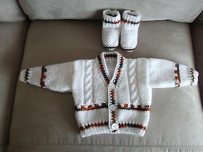 """hand knitted  little boys cardigan  and bootees  0 to 3 months size 16"""""""