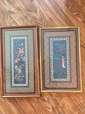 2 Vintage Framed Chinese Embroidery Art