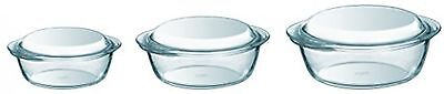 3 Piece Pyrex Borosilicate Glass Casserole Set Bakeware Dish Clear Lid Thermal