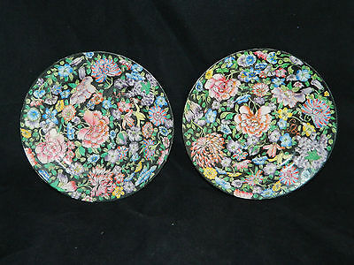 Antique Two Chinese hand painted plates porcelain Famille Noir Republic period