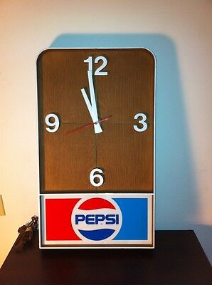 "Vintage PEPSI Cola Hanging Wall Clock Plastic 19.5"" x 11.5"" x 2"" Working"