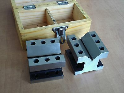 """Steel V-block  2"""" x 2-3/8""""  2 Pieces No Clamps, in wooden case"""