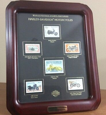 Framed World Postage Stamps Featuring Harley Davidson Motorcycles