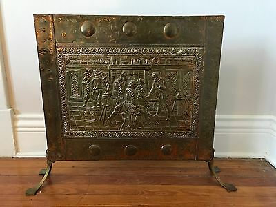 Antique Embossed Tin Fireplace Screen