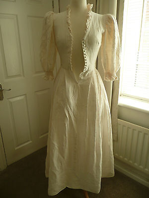 Vintage 80's Cream Wedding Hen Night Party Theatre Fancy Dress states UK 6-8