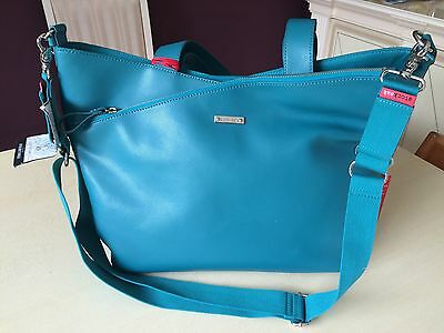 STORKSAK LUCINDA LUXURY DESIGNER LEATHER Baby CHANGE BAG IN Teal Blue BRAND NEW
