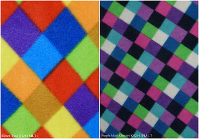 Polar Fleece Anti Pill Fabric Premium Quality Soft Multi Check Elmer Print Q1284
