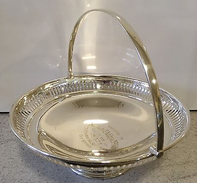 Silver Plated 1909 Cake Basket Martin Hall Swing Handle Bowl Antique Inscription
