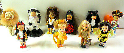 Rare, retired lot of 10 Barbie Kelly Dolls, Costumes Lion,  w/stands, Mattel