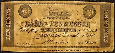 Rare 1861 Bank Of Tennessee 10 Cent Wartime Counterfeit Note By Samuel Upham