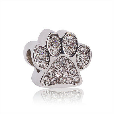 Pave Diamante Paw Charm Bead Crystal Silver Pet Dog Puppy Cat Animal - FREE P&P