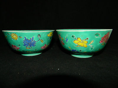 Antique Two Chinese hand painted bowls porcelain famille rose Republic period