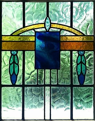 PAIR OF VINTAGE STAINED GLASS PANELS   (   2 x Antique Leaded Windows   )  door