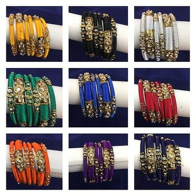 Indain Bollywood Handmade Tread Bangles Gold Tone With Clear Crsystas New