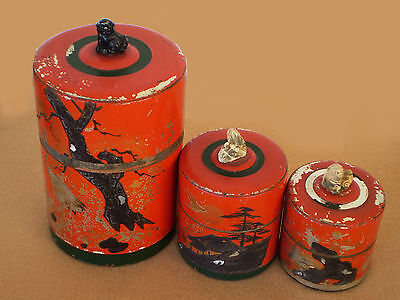 Set 3 Vintage JAPANESE Tin TEA CANISTERS Red Chippy Paint Asian Designs