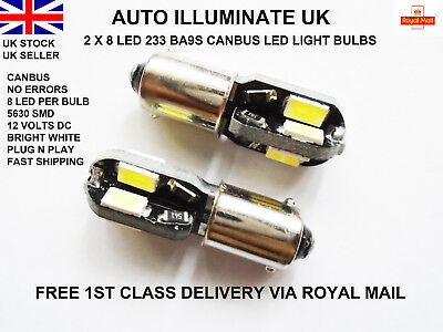 2 X Ba9S Car Bulbs 8 Led Error Free Canbus Smd Xenon White 233 T4W Light Lamps