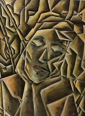 Original Abstract Cubistic Oil Painting Woman Music on Canvas Signed Artist US