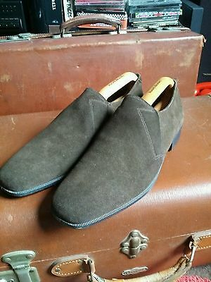 Vintage 1960's Ivy League Mod Brown Suede Loafers.Elasticated DB Shoes Size 8 vg