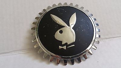 Vintage PLAYBOY GRILL EMBLEM Silver Chrome and Black