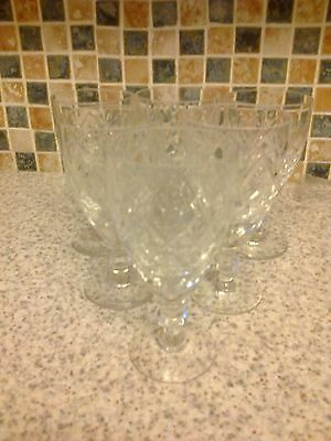 cut glass sherry/port glasses on stem diamond design x 6