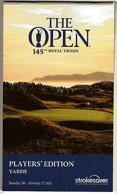 2016 Open Championship Royal Troon Players' Strokesaver (Yards), Brand New