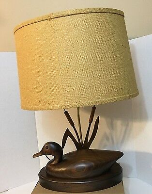 "Rare ""The Decoy Shop"" Freeport, Main 14 ½"" Duck Lamp with Cat Tails"