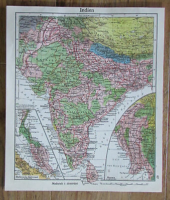 Indien India - alte Karte Landkarte aus 1922 old map