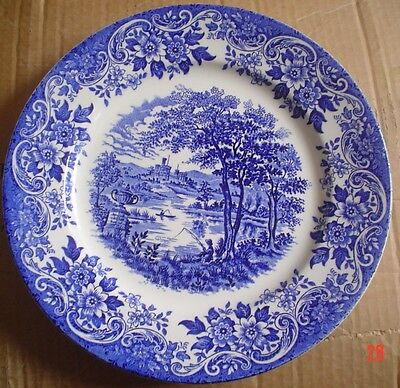 Broadhurst Staffordshire Blue And White Salad Or Breakfast Plate ENGLISH SCENE