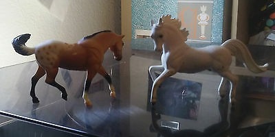 "2 retired 1999 Breyer Reeves horses, dappled  brown 3"", white 4"""