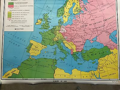 Vintage 1953 Europe Wall Map Knolton Wallbank World History school 47 x 33 1/2