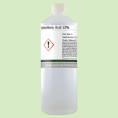 Hydrochloric Acid (Muriatic Acid) 10% 1 Litre (1L) Including Delivery