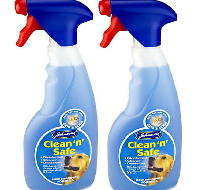 CLEAN N SAFE 1L DOG & CAT - (500ml x2) - Johnsons Disinfectant Cleaner Spray bp