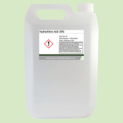 Hydrochloric Acid (Muriatic Acid) 10% 5 Litre (5L) Including Delivery