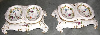 Fab. Pr of Antique Meissen Double Open Salts Baroque Style Circa 1830-40.