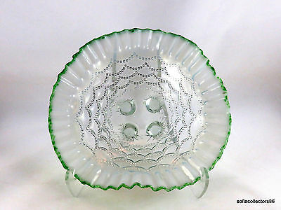 Northwood Flint Opalescent Beaded Drapes Bowl with Green Frit Edge - ca. 1905