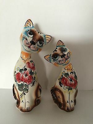 Two Cats Russian Gzhel Porcelain Figurine Hand painted.