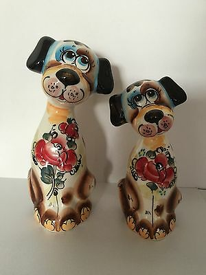Two Dogs Russian Gzhel Porcelain Figurine Hand painted.