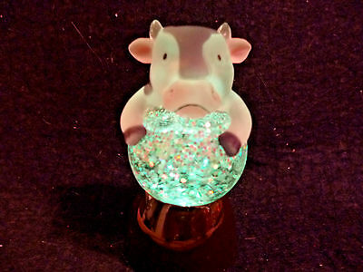 Hallmark Gift Bag Cow Snow Globe - Grey and White Changes Color Glitter NEW