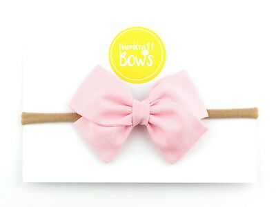 Pale Pink Baby Girl Bow Headband Newborn Toddler Hairband Soft Elastic Handmade