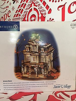 1999 Dept 56 Halloween SNOW Village GRIMSLY MANOR #55004 retired MIB