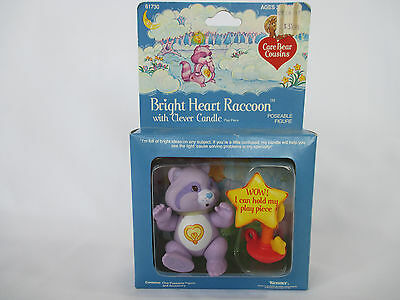 1985 CARE BEARS COUSINS Poseable BRIGHT HEART RACCOON w/Candle NEW IN PACKAGE
