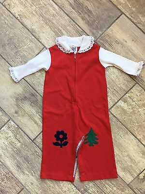Vintage Baby 70s Toddly Winks Romper Longall Appliqué 6m