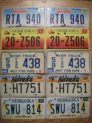 LOT of 10 NEBRASKA LICENSE PLATES 1993 / 2012 5 matched pair / 5 different types