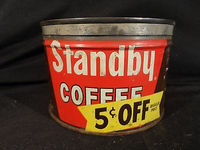 Vintage  1 Lb Stand By Coffee Tin Can Key Wind Correct Lid