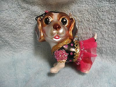 Beagle Puppy Dog Glass / Resin Ornament - Party Cutie in Ruffles & Lace Outfit