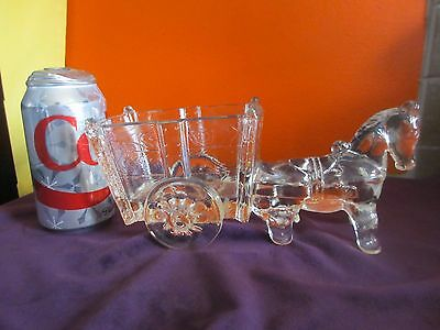 "Vintage GLASS Candy Dish DONKEY with CART  Approx. 9 1/2"" Long"